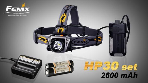 LED čelovka Fenix HP30 + nabíjecí sada 2600 mAh - šedo černá