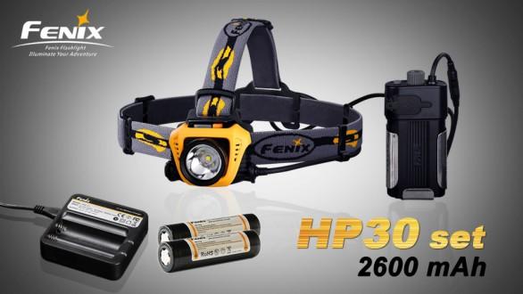 LED čelovka Fenix HP30 + nabíjecí sada 2600 mAh - černo žlutá