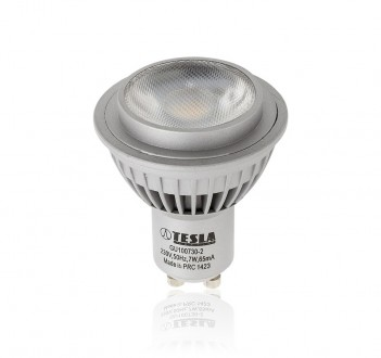 Bodová LED žárovka Tesla 450 lumenů, 7W, teplá bílá - GU10
