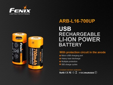 Dobíjecí USB baterie Fenix RCR123A / 16340 High Current (Li-ion)